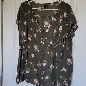 Torrid Olive Waterfall blouse Size 1